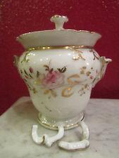 ancien grand sucrier porcelaine de paris blanche dorée fleurettes peintes 19 eme