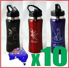 10x Customised Personalised Water Drink Bottle + Name Logo Laser Engraved Etched