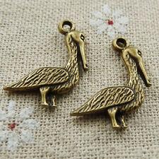 Free Ship 110 pieces Antique bronze goose charms 23x19mm #184