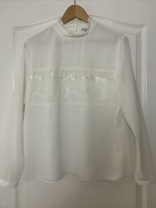 TU Smock White Blouse Top vintage style Frill collar Lace Front Size UK 16 VGC