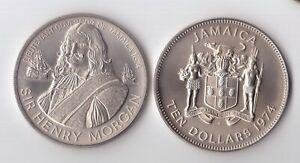 JAMAICA RARE CU-NI 10$ UNC COIN 1974 YEAR KM#63 HENRI MORGAN SHIP