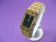 WITTNAUER SWISS CE8506 1 REAL DIAMOND LADIES DRESS WATCH GOLD PLATED BLACK DIAL