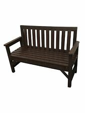 SEAT BENCH GARDEN  CHAIR 2 SEATER 100% SOLID RECYCLED PLASTIC 1300mm BROWN