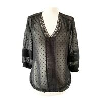 Oasis 8 Blouse Top Broderie Anglaise Black Lace Folk Boho Holiday Prairie