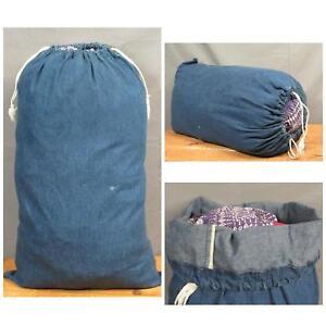 Vintage 1960s Denim Indigo Duffel Bag Selvedge Utility Tote Drawstring Top Nice!