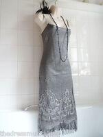 Vintage 1920's Lace Crochet Fringe Tassel Deco Flapper Charleston Gatsby Dress