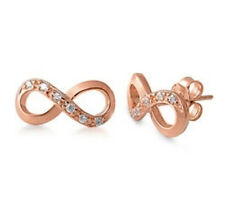 Infinity Silver Earrings Cubic Zirconia Gemstones Rose Gold Plated Studs Pierced