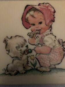 Vtg Nursery Decor Decorative Wall Plaque Baby Girl & Dog Pete Hawley Art 1962