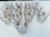Vintage Libbey MCM Gold Rimmed Frosted Leaves Bar Cocktail Glasses Set of 13 Lot
