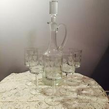 STUNNING ETCHED DECANTER WITH MATCHING GLASSES