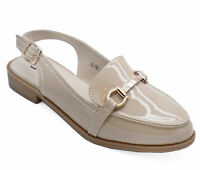 WOMENS BEIGE SMART WORK PATENT FLAT SLINGBACK COMFY LOAFERS SHOES SIZES 3-8