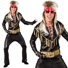 Mens Rock Star Costume 80s Glam Rocker Music Fancy Dress Outfit