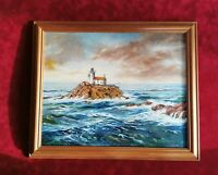 Original Oil Painting ~ Framed~ Lighthouse at Brittany France by Arthur Tweats