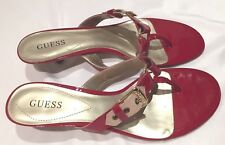 NIB Guess Marciano Quintin Red Patent Short Heel Sandals Gold & Tan Accents 8.5