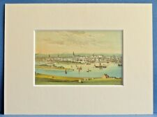 ABERDEEN SUPERB QUALITY ANTIQUE MOUNTED CHROMO PRINT 8X6 OVERALL OLD SHIPS c1890