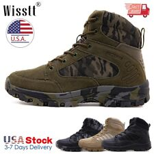 Mens Army Military Combat Boots Waterproof Work Shoes Fishing Leather Hiking NEW