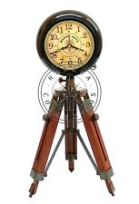 """Nautical Maritime 18"""" Antique Brass Table Desk Clock With Wooden Tripod Stand"""