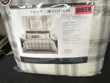Tommy Hilfiger Fray White Plaid Full/queen Comforter Set New With Tags