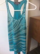 Almost Famous Green Tank Top Sequin Embellished Racerback Women's size Xs