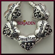 5 Daughter Heart Spacer Charms European Jewelry 12 mm x 12 mm 5 mm Hole S005