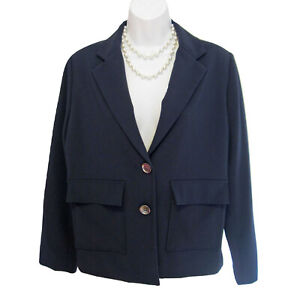 Chicos Navy Blue Blazer Jacket Size 1 8 10 M Pockets Two Button Lined Chico's