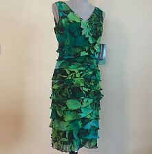 NWT $90 JONES WEAR DRESS Size 8 Blue Green Leaf Tropical Tiered Sleeveless Dress
