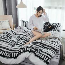 Black White Printing Bedding Set Duvet Quilt Cover+Sheet+Pillow Case Four-Piece