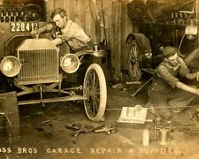 1912 Ford Model T Ross Bros Garage EARLY Auto Repair Shop RPPC Iowa Postcard