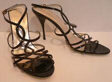 VALENTINO Black Patent Leather Ankle Strap Sandal High Heel Pumps Shoes Bag Sz12