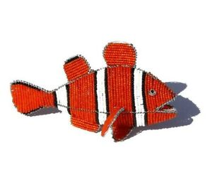 Beads and Wire Clown Fish, Orange White and black Beaded African Decorations.
