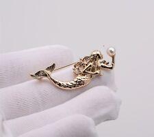 Brosche Anstecknadel Kristall Button Anstecker Badge Meerjungfrau Perle gold neu