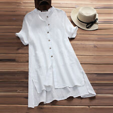 UK Womens Buttons V Neck Ladies Asymmetrical Loose Tunic Tops T Shirt Mini Dress