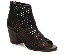 Kelsi Dagger KDB Kyoto Black Perforated Leather Open-Toe Heels Womens 9.5 Bootie