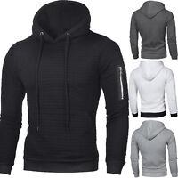 Men's Plain Hooded Hoodie Sweatshirt Casual Jacket Gym Sports Work Tops Pullover