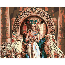 New Diy- Cleopatra And Leopards Canvas Paint By Numbers Kit.