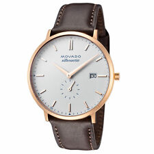Movado Men's 3650068 Heritage 40mm White Dial Leather Watch