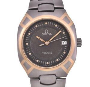 OMEGA Seamaster Polaris K18YG/ Titanium gray Dial Quartz Men's Watch H#102909