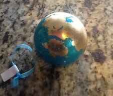 Handmade Turquoise Ball Ornament with Gold Embellishment - Free Shipping