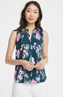NWT Women's Ann Taylor Sleeveless Fauna Floral Pleat Neck Shell Top Sz Medium