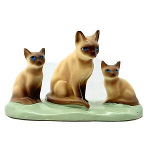 Vintage Enesco Siamese Mother Cat & Kittens Ceramic Figurine Blue Eyes Japan