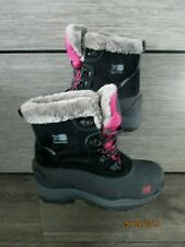 GIRLS KARRIMOR BLACK/PINK SNOW FUR BOOTS UK 4 BNWT WATERPROOF