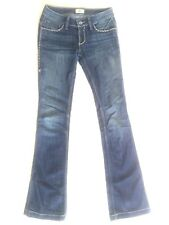 Antik Denim Women Jeans Embroidered Blue And Yellow 5 Pockets Boot Cut Sz 26
