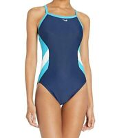 Nike Women's Swimwear Blue Size 8 Colorblock Cut Out Back One-Piece $30 #402
