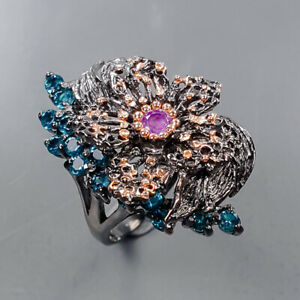 Handmade jewelry Amethyst Ring Silver 925 Sterling  Size 6.5 /R171899