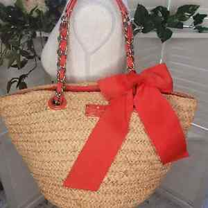 KATE SPADE COAL SPICE POINT STRAW AUTHENTIC TOTE