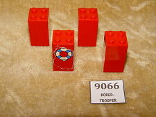 LEGO Parts: 30145 Brick 2 x 2 x 3 RED x4 (inc 1x sticker from 4178)