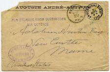 BELGIUM to USA BOSTON PAID 1882 HANDSTAMP PER STEAMER from QUEENSTOWN via OSTEND
