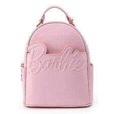 Barbie Pink Loungefly Faux Leather Mini Backpack Rose Gold Chain New
