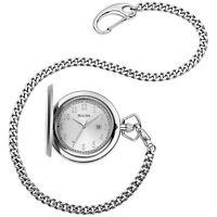 Bulova Men's Quartz Silver-Tone Stainless Steel Chain Pocket Watch 50mm 96B270