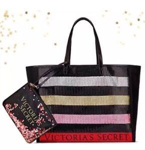 Victoria's Secret 2 pc Set Tote Bag & Pouch Mini Bag Sequin Weekender BLING $68.